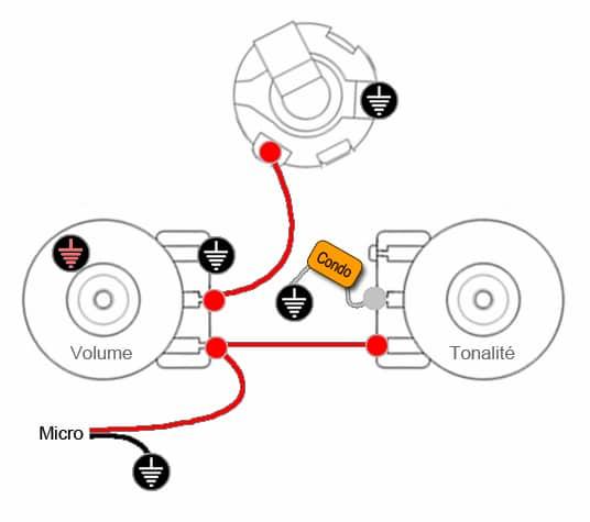 Câblage 1 micro, 1 Volume & 1 tonalité