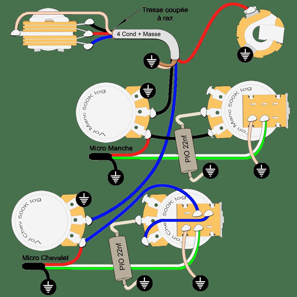 Plan Lespaul split chevalet et désactivation tonalité
