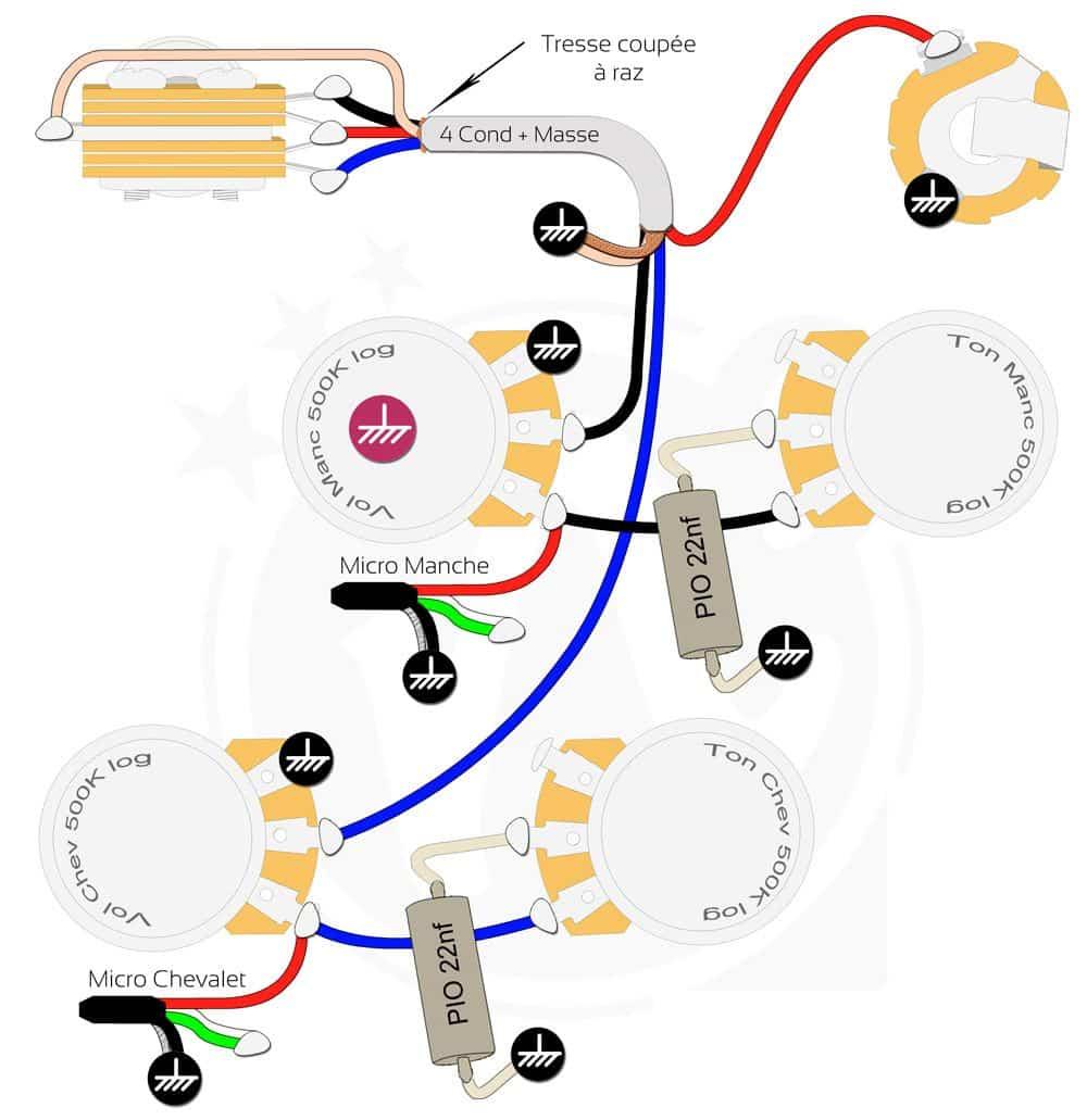Plan câblage électronique guitare Les Paul optimisé Mogami droitier