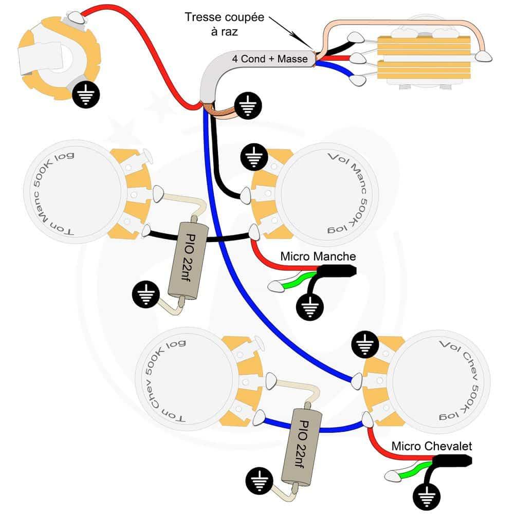 Plan câblage électronique guitare Les Paul optimisé Mogami gaucher