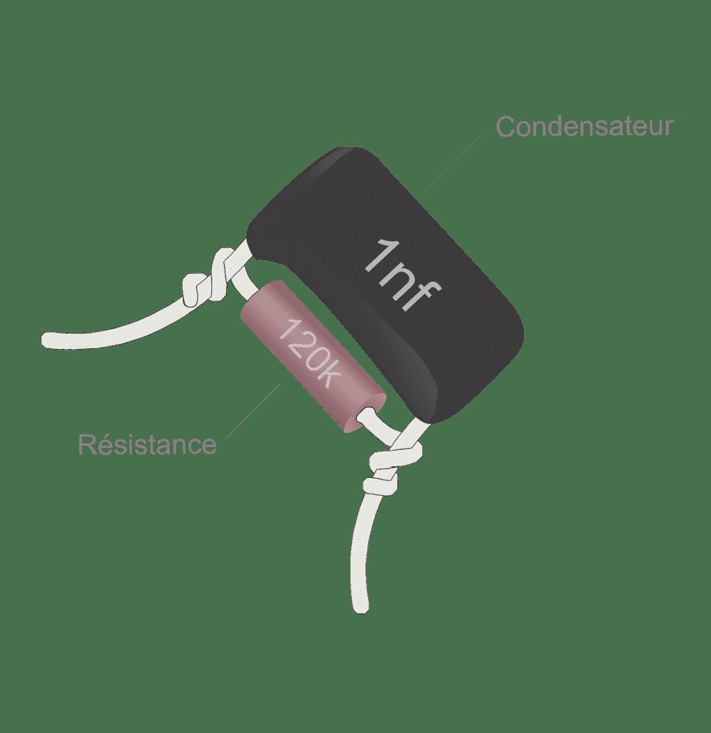 Treble bleed guitare Condensateur 1nf et résistance 120K en parallèle
